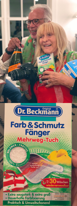 So planning my mother in law's birthday was a mini-wedding: @VAMNit arranged a dinner, a dance party, a next day brunch. She also surprised her mom with some cousins from Austria, and they brought the BEST present:  imported cleaning products. FARB & SCHMUTZ FÄNGER! https://t.co/gOK20WfnCD: Dr.Beckmann  MONETTO  PROSECCO  Farb &Schmutz  Fänger  Mehrweg-Tuch  frop  Happy Bir d  Langan  SCHOKOWURFEL  Ritter  SPORT  .   Original  Dr.Beckmann  Farb &Schmutz  Fänger  Mehrweg-Tuch  FROTTEE  100%  Nimmt  auslaufende  Farbe auf  Baumwolle  30w  Wäschen  Bis  ZU  wiederverwendbar  Extra saugstark & extra groß  Dauerhafte Farbfixierung  Praktisch& Umweltschonend  OEKO-TEXO  STANDARD 100%  A14-0229 HOHENSTEIN HTTI So planning my mother in law's birthday was a mini-wedding: @VAMNit arranged a dinner, a dance party, a next day brunch. She also surprised her mom with some cousins from Austria, and they brought the BEST present:  imported cleaning products. FARB & SCHMUTZ FÄNGER! https://t.co/gOK20WfnCD