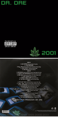 18 years ago today, Dr. Dre released '2001' featuring the tracks 'Still D.R.E.', 'Xxplosive', & 'The Next Episode' 🔥💯 @DrDre https://t.co/FBPdZnp2f2: DR. DRE  PARENTAL  ADVISORY  EXPLICIT CONTENT  2001   SIDE A  1. LOLO INTRO Featuring Xzibit & Tray-Dee  2. THE UATCHER  3 mutu, You Featuring Devin aka The Dude & Snoop Dogg  4. STILL D.R.E. Featuring Snoop Dogg  5. BIG EG0'S Featuring Hittman  SIDE B  1. XXPLOSIVE Featuring Hittman, Kurupt, Nate Dogg & Six-Two  2. WHATS THE DIFFERENCE Featuring Eminem & Xzibit  3. BAR ONE Featuring Traci Nelson, Ms. Roq & Eddie Griffin  4. LIGHT SPEED Featuring Hittman  5. FORGOT ABOUT DRE Featuring Eminem  6. THE NEXT EPISODE Featuring Snoop Dogg  SIDE C  1. LET'S GET HIGH Featuring Hittman, Kurupt & Ms. Roq  2 nt Fetring Snoop Dogg. Hittman & Six-Tuo  3. THE CAR BOMB Featuring Mel-Man & Charis Henry  4. MURDER INK Featuring Hittman & Ms. Roq  5. ED-UCATION Featuring Eddie Griffin  6. SOME LAFeaturing DeFari, Xzibit, Knoc-Turn'al, TIime Bomb, King T. MC Ren & Koka  7 PAUSE 4 PORN0 Featuring Jake Steed  SIDE D  1. HOUSEUWIFE Featuring Kurupt & Hittman  2. ACKRITE Featuring Hittman  3. BANG BANG Featuring Knoc-turn'al & Hittman  4. THE MESSAGE Featuring Mary J. Blige & Rel  XECUTIVE PRODUCER: DR. DRE  06949 0486 117  1995 1996  1998 1999 2000 2001 18 years ago today, Dr. Dre released '2001' featuring the tracks 'Still D.R.E.', 'Xxplosive', & 'The Next Episode' 🔥💯 @DrDre https://t.co/FBPdZnp2f2