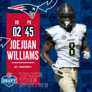 With the #45 overall pick in the 2019 @NFLDraft, the @Patriots select CB Joejuan Williams! #NFLDraft https://t.co/a1EEBXLpCw: DR  DRE  RD PK  02 45  OEJUAN  WILLIAMS  F T  VANDERBILT  2019  DB VANDERBILT  DT  RAF  NFL  SI  2019  1g6  27  25-27 With the #45 overall pick in the 2019 @NFLDraft, the @Patriots select CB Joejuan Williams! #NFLDraft https://t.co/a1EEBXLpCw