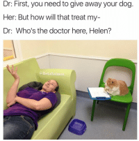 Funny, Salmon, and The Doctor: Dr: First, you need to give away your dog  Her: But how will that treat my-  Dr: Who's the doctor here, Helen?  @Beta Salmon I hate cats but this cat doctor pretty damn cute (@betasalmon)