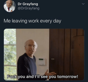 meirl: Dr Grayfang  @DrGrayfang  Me leaving work every day  Fuck you and l'll see you tomorrow! meirl