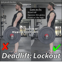 Huh, Memes, and Exercise: @dr.jacob harden  Cues to fix:  Stand tall  squeeze the glutes  Finish w/ the hips  Lumbar  Hyperextension  Deadlift Lockout DOES YOUR BACK HURT AT LOCKOUT? We put a lot of effort into making sure that we execute the pull in the deadlift correctly. But how we finish the movement is just as important. And because so many people do it wrong, it leads to quite a bit of back pain. . ✅ When you lockout the deadlift, you should do so by squeezing the glutes and standing up tall. We call this finishing with the hips. When you do it correctly the shoulders will line up over the hip and ankle. Sounds like the deadlift could be a posture exercise huh? 😞(Think about that) . ❌ What I often see instead is the glutes staying relaxed and the lockout being finished by the lifter leaning backwards at the top. Done repetitively, it can create some very sensitive facet joints and make you intolerant extension, meaning it will hurt to bend backwards. . So fix your lockout and start using the 🍑booty. As always, let me know if you'd like me to walk you through a video demo and make sure to tag a friend and share the wealth. ✌❤💪 . MyodetoxOrlando Myodetox