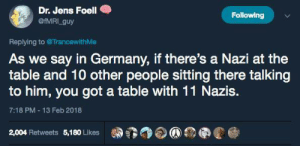 "Confused, Doctor, and Family: Dr. Jens Foell  Following  @fMRI guy  Replying to @Trancewith Me  As we say in Germany, if there's a Nazi at the  table and 10 other people sitting there talking  to him, you got a table with 11 Nazis.  7:18 PM-13 Feb 2018  2,004 Retweets 5,180 Likes sleepyowlet:  silverscreenx:  sleepyowlet:   antifaintl: Reminder. To all the absolute walnuts in the notes: No, sitting down to talk with a Nazi if you don't know they're a Nazi doesn't make you a Nazi. Neither is trying to talk one out of their mindset. I'm not sure if you're genuinely confused about this or just sea-lioning, but on the off-chance you're sincere: The quote is about people being complacent and accepting of Nazis in social settings, much in the same way that rapists feel validated by rape jokes. It's about denying Nazis social validation and acceptance, which is a good and necessary thing. It's about putting up a stink at family gatherings by refusing to share a meal with uncle Harry after he makes a joke about ""some people"" needing to be gassed. It's about standing up to members of your social group spouting antisemitic or racist shit. It's about challenging them. And yes, trying to talk them out of it is a valid way to do that. But if you can't, cut ties. It means that if you are complacent, you are part of the problem.   So we're supposed to give them a victim mentality that will sooner or later evolve into a revenge fantasy and culminate in actual revenge and criminal behavior?  You really don't understand that all this ""punch Nazis"" jargon does is making evil grow in hiding, until it's strong enough to fight back? And it's not even a saying here. The good Doctor just made up some ideological bullshit. Don't try to add nuance to a blanket statement after the fact.   Hello. Hi. East German here. We actually do say that. And…you are aware that they already are violent? That they kill people as is? Remember the Zwickauer Terrortrio? Punching them doesn't make them worse than they already are - Nazis are always violent because their very ideology already is violence. But you know what punching them achieves? It makes them afraid. It makes it so that they don't dare to try to climb on the herring barrel and shout shit at crowds. It makes it harder for them to recruit followers openly. Punching Nazis and openly ridiculing and shaming them makes sure their bullshit doesn't get normalised, aka suitable for polite conversation which, as I said, the quote is about. Make Nazis afraid again."