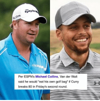 """Basketball, Golden State Warriors, and Sports: DR  Per ESPN's Michael Collins, Van der Walt  said he would """"eat his own golf bag"""" if Curry  breaks 80 in Friday's second round Steph shot a 74..."""
