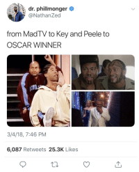 Blackpeopletwitter, Key and Peele, and Oscar: dr. phillmonger  @NathanZed  from MadTV to Key and Peele to  OSCAR WINNER  3/4/18, 7:46 PM  6,087 Retweets 25.3K Likes <p>I remember syrup sandwiches and crumb allowances💪🏽 (via /r/BlackPeopleTwitter)</p>