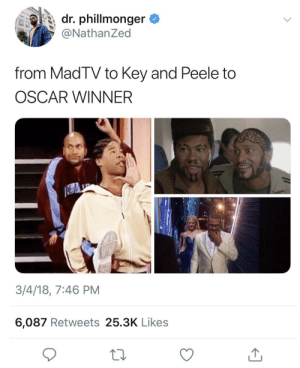Key and Peele, Oscar, and Key: dr. phillmonger  @NathanZed  from MadTV to Key and Peele to  OSCAR WINNER  3/4/18, 7:46 PM  6,087 Retweets 25.3K Likes I remember syrup sandwiches and crumb allowances💪🏽