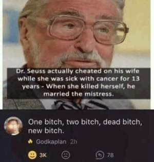 Bitch, Dr. Seuss, and Funny: Dr. Seuss actually cheated on his wife  while she was sick with cancer for 13  years- When she killed herself, he  married the mistress.  One bitch, two bitch, dead bitch,  new bitch.  Godkaplan 2h  3K I never knew he had such a dark side. via /r/funny https://ift.tt/2CIwMm6