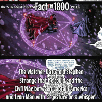 My plan to stop losing followers... post a ton.... 😂: DR STRANGE'S SANI  Fact #1800  POLE:  SIN  JUS  WATE  CIVIL V  ARE YOU NOT TEMPTED TO  SIMPLY END IT? WITH YOUR  GREAT POWER, YOU COULD  STOP THIS QUARREL WITH  A GESTURE OR A  The Watcher UatuifoldStephen  EMAIN ABO  Strange that he end the  OR WRON  IN THIS AT  Civil War THE EVOLU  N OF THE  America  and Iron Man with SUPER HUMAN ROLE  or awhisper My plan to stop losing followers... post a ton.... 😂