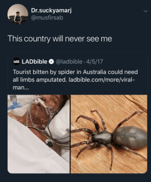 Nope land downunder: Dr.suckyamarj  @musfirsab  This country will never see me  LADbible  @ladbible 4/5/17  LAD  BIBLE  Tourist bitten by spider in Australia could need  all limbs amputated. ladbible.com/more/viral-  man... Nope land downunder