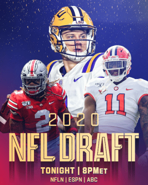 Draft Day.  📺: 2020 #NFLDraft starts TONIGHT at 8PM ET on NFLN/ESPN/ABC https://t.co/FD1qknBDEC: Draft Day.  📺: 2020 #NFLDraft starts TONIGHT at 8PM ET on NFLN/ESPN/ABC https://t.co/FD1qknBDEC