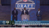 """Memes, Nfl, and NFL Draft: DRAFT  G DRAFT  by Verizon  RD PK  2017 NFL Draft Presented 4 108  DRAFT  LIVE  GB  NEXT MIN JAX SEA LA LAC WAS ARI CIN CH  PH  CH  MIN IND BAL WAS """"If anyone from Dallas steps to this doggone podium...""""  @36westbrook + Brian Dawkins wasted NO time getting this crowd fired up. #NFLDraft https://t.co/IkqXGpbACM"""