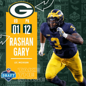 Memes, Nfl, and Michigan: DRAFT  KERS  9 61  NFL  AP  DRAFT  2019  RD PK  01 12  RASHAN  GARY  CRS  BIe  RS  BAY  PACKERS  LB I MICHIGAN  OUP  TAK  DRAFT THE  F T  NFL  019  BAY  CKERS  2019  FUTUREDACKE With the #12 overall pick in the 2019 @NFLDraft, the @packers select LB Rashan Gary! #NFLDraft (by @Bose) https://t.co/d3V6LPhjhH
