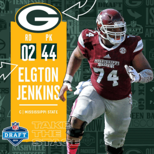 With the #44 overall pick in the 2019 @NFLDraft, the @packers select C Elgton Jenkins! #NFLDraft https://t.co/IABTFC6oyI: DRAFT  KERS  9 61  NS  NFL  AP  DRAFT  2019  RD PK  102  ELGTON  JENKINS  adidas  MISSISSIPPI  GTATE  RS  C MISSISSIPPI STATE  EEN BA  TAK  NFL  DRAFT  DRAFT!  2019  es  nll  PACKERS With the #44 overall pick in the 2019 @NFLDraft, the @packers select C Elgton Jenkins! #NFLDraft https://t.co/IABTFC6oyI