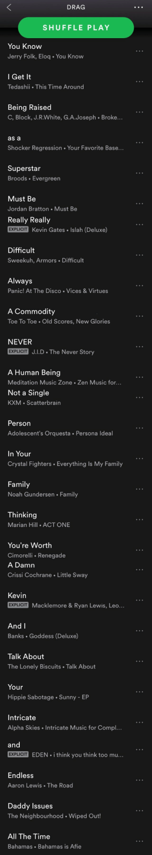 nwesninski:Made a playlist for an enemy: DRAG  SHUFFLE PLAY  You Know  Jerry Folk, Eloq. You Know  l Get It  Tedashii This Time Around  Being Raised  C, Block, J.R.White, G.A.Joseph . Broke...  as a  Shocker Regression. Your Favorite Base...  Superstar  Broods Evergreen  Must Be  Jordan Bratton Must Be   Really Really  EXPLICIT Kevin Gates. Islah (Deluxe)  Difficult  Sweekuh, Armors Difficult  Always  Panic! At The Disco Vices& Virtues  A Commodity  To Toe. Old Scores, New Glories  NEVER  EXPLICIT J.I.D The Never Story  A Human Being  Meditation Music Zone Zen Music for...   Not a Single  KXM Scatterbrain  Person  Adolescent's Orquesta Persona Ideal  In Your  Crystal Fighters . Everything Is My Family  Family  Noah Gundersen Family  Thinking  Marian Hill .ACT ONE  You're Worth  Cimorelli Renegade   A Damn  Crissi Cochrane Little Sway  Kevin  EXPLICIT  Macklemore & Ryan Lewis, Leo.  And l  Banks Goddess (Deluxe)  Talk About  The Lonely Biscuits Talk About  Your  Hippie Sabotage Sunny - EP  Intricate  Alpha Skies Intricate Music for Compl..   and  EXPLICIT EDEN. i think you think too mu...  EXPLICIT  Endless  Aaron Lewis The Road  Daddy Issues  The Neighbourhood . Wiped Out!  All The Time  Bahamas Bahamas is Afie nwesninski:Made a playlist for an enemy