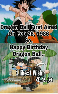 Memes, 🤖, and Dragon Ball: Dragon Ball First Aired  On Feb 26 1986  Sow  Happy Birthday  Dragon Ball..  n n  H Mikes Wish Happy Birthday! <3