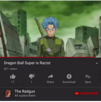 Memes, Dragon Ball Super, and Racist: Dragon Ball Super is Racist  821 views  17  Share  Download  Save  The Railgun  44 subscribers  SUBSCRIBE