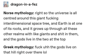 roots: dragon-in-a-fez  Norse mythology: right so the universe is all  centred around this giant fucking  interdimensional space tree, and Earth is at one  of its roots, and it grows up through all these  other realms with like giants and shit in them,  and the gods live in the two at the top  Greek mythology: fuck uhh the gods live on  that hill right over there lol