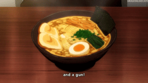 Food, Target, and Tumblr: DRAGONLIKECATS  and a gun dracenines:  dragonlikecats:  How I imagine Americans to make food.   black lagoon season 3 confirmed