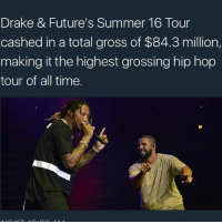 🙌: Drake & Future's Summer 16 Tour  cashed in a total gross of $84.3 million,  making it the highest grossing hip hop  tour of all time. 🙌