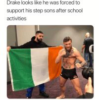 Drake, Funny, and School: Drake looks like he was forced to  support his step sons after school  activities  @MasiPopal Okay but where's your support for Mahbed? mcgregor khabib