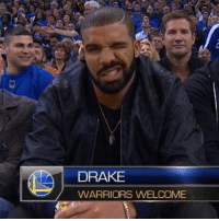 Drake spotted at the Warriors game.: DRAKE  WARRIORS WELCOME Drake spotted at the Warriors game.