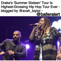 "Kanye, Memes, and Amsterdam: Drake's ""Summer Sixteen Tour Is  Highest-Grossing Hip Hop Tour Ever  blogged by Coavah taylor  balleralert Drake's 'Summer Sixteen' Tour Is Highest-Grossing Hip Hop Tour Ever - blogged by @avah_taylor - ⠀⠀⠀⠀⠀⠀⠀⠀ Drake's SummerSixteen Tour with Future is the highest-grossing hip hop tour ever, according to PollstarPro's list of top 100 worldwide tours of 2016. Previously, the title was held by JayZ and KanyeWest's ""Watch The Throne"" Tour, which grossed $75 million. ⠀⠀⠀⠀⠀⠀⠀⠀ The Toronto rapper's North American tour reportedly pulled in $84.3 million over the course of 56 dates in 38 cities between July and October of last year, with more than 750,000 tickets sold. ⠀⠀⠀⠀⠀⠀⠀⠀ Meanwhile, Kanye's SaintPablo Tour was the second highest-grossing hip hop tour of 2016, bringing in $52.8 million over 29 shows. ⠀⠀⠀⠀⠀⠀⠀⠀ The 6ix God, who is rumoured to be dating JenniferLopez, is currently gearing up for his BoyMeetsWorld European tour, which kicks off in Amsterdam on January 21 and ends in Cologne on March 16."