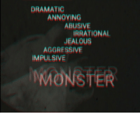 Jealous, Monster, and Aggressive: DRAMATIC  ANNOYING  ABUSIVE  RRATIONAL  JEALOUS  AGGRESSIVE  IMPULSIVE  MONSTER