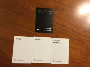 Cards Against Humanity, Christmas, and Tumblr: DRAW 2  Gards Againet Humanity PICK  3  Geese.  Ghosts  A murder  most foul.  Cards Against Humanity  Cards Against Humanity  Cards Against Humanity meowjorie:my Christmas gift to you guys is the best Cards Against Humanity combination ever