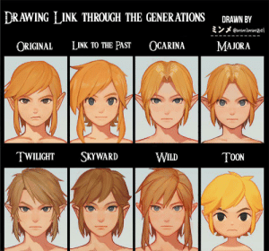 Choose your favourite: DRAWING LINK THROUGH THE GENERATIONS  DRAWN BY  @wmimmzel  OCARINA  ORIGINAL  LINK TO THE PAST  MAJORA  SKYWARD  TWILIGHT  WILD  T0ON Choose your favourite