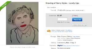 Click, Target, and Tumblr: Drawing of Harry Styles Lovely Lips  tem condition: -  Time left: 11h 40m 41s (28 Aug, 2013 08:49:31 BST)  Current bid: £1.57  1 7 bids ]  Place bid  Enter E1.77 or more  Add to Watch list  Link your Nectar card or join Nectar  Postage: Free Express Delivery See details  Item location: Hove, United Kingdom  Post to: United Kingdom  Delivery: Estimated by Mon. 2 Sep.  Payments: PayPal I See payment information  Click to view larger image and other views  Returns: No returns accepted vanillish:  7 bids  More bids on this, then on YOUR VIRGINITY.