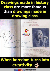 optics: Drawings made in history  class are more famous  than drawings made in  drawing class  3.4 Laser  4. Geometrical Optics:  .1 Lens System  4.2 Optical Fibers  AUGHING  Ibert Einstein (1879-1955  eEinstein, biuterly unhappy with the rigid discipline ef the scha  16 o Switaerland to complete his edacation. In 1905, ideas duat la  yers The fiest paper on pbotcekectric effect, peoponed thur figh  k and wave properties Finstein's gcneral dheory of relaivity, p  o the structure of space and time lo 1917 iseis introduced the  liaron His last years were spent in unsuccessful search fr 1 d  When boredom turns into  creativity  E  D 同四/laughingcolours
