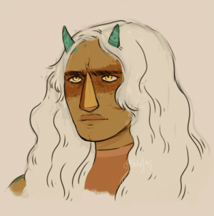 Love, Struggle, and Tumblr: drawjas:i kind of struggle drawing jasper, especially when theyre not human au.. this isnt super different but i like this one. im just trying to figure out hair hair and jaw and how their gem would work. but i love the little white hairs in their eyebrows and eyelashes..