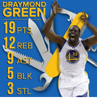 Draymond does it allllllllll for the Warriors.: DRAY MONDO  GREE  19pm  REB  BLK  3 STL  23 Draymond does it allllllllll for the Warriors.