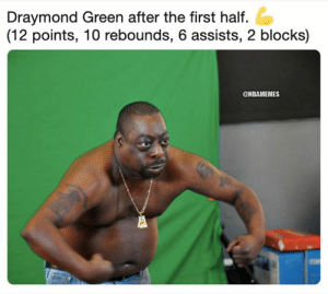 Draymond Green, Nba, and Green: Draymond Green after the first half.  (12 points, 10 rebounds, 6 assists, 2 blocks)  @NBAMEMES Draymond Green right now 😂