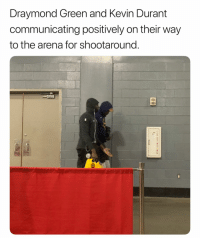 Looks like they are cool with eachother already 🤷‍♂️ (Via ‪ChrisBHaynes‬-Twitter): Draymond Green and Kevin Durant  communicating positively on their way  to the arena for shootaround. Looks like they are cool with eachother already 🤷‍♂️ (Via ‪ChrisBHaynes‬-Twitter)