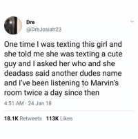 Cute, Funny, and Texting: Dre  @DreJosiah23  One time I was texting this girl and  she told me she was texting a cute  guy and I asked her who and  deadass said another dudes name  and I've been listening to Marvin's  room twice a day since then  4:51 AM 24 Jan 18  she  18.1K Retweets 113K Likes 😬
