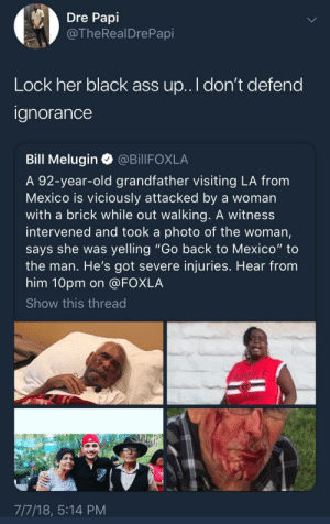 "She don't deserve any kind of defense. by bay_coconut FOLLOW HERE 4 MORE MEMES.: Dre Papi  @TheRealDrePapi  Lock her black ass up.. I don't defend  anorance  Bill Melugin @BillFOXLA  A 92-year-old grandfather visiting LA from  Mexico is viciously attacked by a woman  with a brick while out walking. A witness  intervened and took a photo of the woman,  says she was yelling ""Go back to Mexico"" to  the man. He's got severe injuries. Hear from  him 10pm on @FOXLA  Show this thread  7/7/18, 5:14 PM She don't deserve any kind of defense. by bay_coconut FOLLOW HERE 4 MORE MEMES."