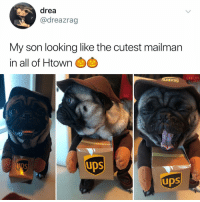 Memes, Hell, and 🤖: drea  @dreazrag  My son looking like the cutest mailman  in all of Htown  UDS  UDS  UDS Post 1452: y the hELL havent u followed @kalesaladanimals yet