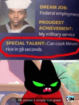 Secret abilities: DREAM JOB:  Federal employment  PROUDEST  ACHIEVEMENT  My military service  SPECIAL TALENT: Can cook Minute  rice in 58 seconds  CN  My power's simply too great. Secret abilities