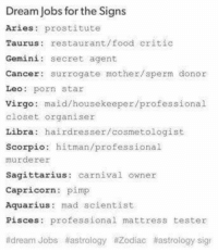 What's your dream job? 😅: Dream Jobs for the Signs  Aries: prostitute  Taurus restaurant/food critic  Gemini: secret agent  Cancer: surrogate mother/sperm donor  Leo porn star  Virgo  maid/housekeeper/professional  closet organiser  Libra  hairdresser/cosmetologist  Scorpio: hitman/professional  murderer  Sagittarius: carnival owner  Capricorn  pimp  Aquarius: mad scientist.  Pisces professional mattress tester  adream Jobs atastrology #Zodiac t astrology sig What's your dream job? 😅