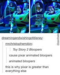 Gotta love it when animated movies did these, right?: dreamingandwishingofdisne  mrchristopherr  in:  Toy Story 2 Bloopers  cause pixar animated bloopers  animated bloopers  this is why pixar is greater than  everything else Gotta love it when animated movies did these, right?