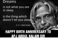 Missile man.: Dreams  is not what you see  in sleep  is the thing which  doesn't let you sleep  A. P. J. Abdul Kalam  HAPPY BIRTH ANNIVERSARY TO  APJ ABDUL KALAM SIR Missile man.