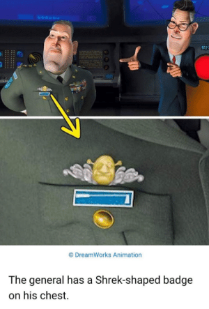 It's who he serves: DreamWorks Animation  The general has a Shrek-shaped badge  on his chest It's who he serves
