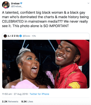And we hope to see more of it: Drebae  @Drebae_  A talented, confident big black woman & a black gay  man who's dominated the charts & made history being  CELEBRATED in mainstream media??? We never really  see it. This photo alone is SO IMPORTANT  ILIZZ O  @lizzo 17h  11:50 am 27 Aug 2019 Twitter for iPhone  2.2K Retweets  9.3K Likes And we hope to see more of it