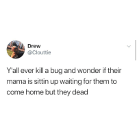 Funny, Memes, and Tumblr: Drew  @Clouttie  Yall ever kill a bug and wonder if their  mama is sittin up waiting for them to  come home but they dead Funny Memes. Updated Daily! ⇢ FunnyJoke.tumblr.com 😀