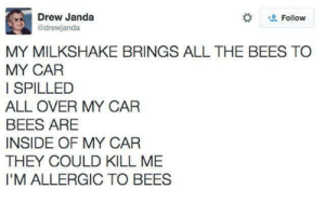 kill me: Drew Janda  drewjanda  Follow  MY MILKSHAKE BRINGS ALL THE BEES TO  MY CAR  I SPILLED  ALL OVER MY CAR  BEES ARE  INSIDE OF MY CAR  THEY COULD KILL ME  I'M ALLERGIC TO BEES