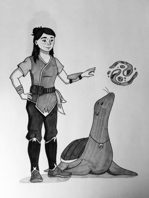 Seal, Turtle, and Myself: Drew myself as a waterbender, with a lovable turtle seal as my companion 💧🌙