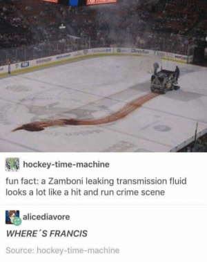 The Zamboni Murderer: Dreyfus TRIB  hockey-time-machine  fun fact: a Zamboni leaking transmission fluid  looks a lot like a hit and run crime scene  alicediavore  WHERE S FRANCIS  Source: hockey-time-machine The Zamboni Murderer