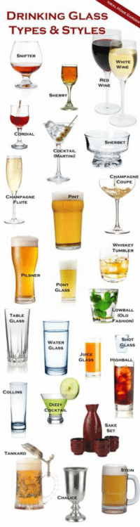 https://t.co/GJAbyMeG19: DRINKING GLASS  TYPES & STYLES  SNIFTER  WHITE  WINE  RED  WINE  SHERRY  CORDIAL  SHERBET  COCKTAIL  (MARTINI)  CHAMPAGNE  COUPE  PINT  PAGNE  FLUTE  WHISKEY  PILSNER  PONY  TABLE  GLASS  SHOT  WATER  SAAss  GLASS  JUICE  GLAss  HIGHBALL  COLLINS  DIZZY  COCKT  SAKE  TANKARD  CHA https://t.co/GJAbyMeG19