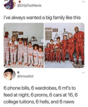 And at least 6 figures?: @DripTooWavie  i've always wanted a big family like this  bha loz  a  @imsadlol  6 phone bills, 6 wardrobes, 6 mf's to  feed at night, 6 proms, 6 cars at 16,6  college tuitions, 6 hells, and 6 naws And at least 6 figures?